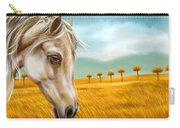 Horse At Yellow Paddy Field Carry-all Pouch