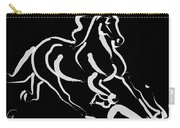 Horse - Fast Runner- Black And White Carry-all Pouch