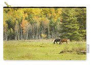 Horse Grazing In Field Autumn Maine Carry-all Pouch