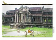 Horse In Front Of Outer Building In Angkor Wat In Angkin Angkor Wat Archeological Park-cambodia Carry-all Pouch