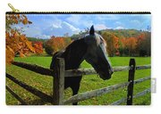 Horse Under Tree By Fence Carry-all Pouch by Dan Friend