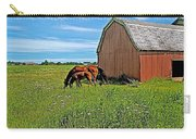 Horses By A Barn Along Confederation Trail-pei Carry-all Pouch