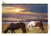 Horses Grazing At Sunset Carry-all Pouch