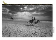 Horses On The Beach Bw Carry-all Pouch