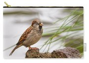 House Sparrow Passer Domesticus On The Perch Carry-all Pouch
