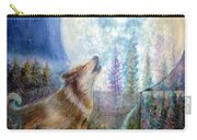 Wolf Howling And Full Moon Carry-all Pouch