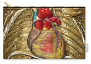 Human Heart Over Vintage Chart Of An Open Chest Cavity Carry-all Pouch