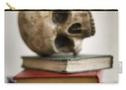 Human Skull And Books Carry-all Pouch