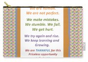 Humans Mistakes Stumble Grow Life Priceless Opportunity Background Designs  And Color Tones N Color  Carry-all Pouch