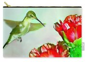 Humming Bird And Cactus Flowers Carry-all Pouch