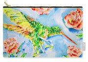Hummingbird In The Roses Carry-all Pouch
