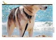 Husky On The Beach Carry-all Pouch