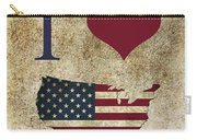 I Love Usa Grunge Texture Carry-all Pouch