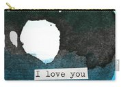 I Love You To The Moon And Back- Abstract Art Carry-all Pouch by Linda Woods