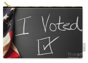 I Voted Sign On Chalkboard Carry-all Pouch