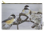 Ice Storm Chickadees Carry-all Pouch by Johanna Lerwick
