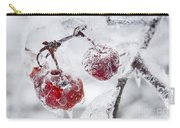 Icy Branch With Crab Apples Carry-all Pouch