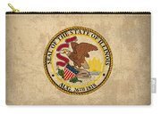 Illinois State Flag Art On Worn Canvas Carry-all Pouch