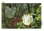 Illuminated White Satin Tulip Carry-all Pouch