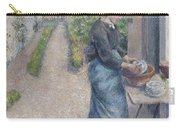 In The Garden At Pontoise A Young Woman Carry-all Pouch