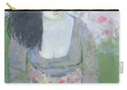 Indian Earring Dark-haired Girl In Green Oil On Canvas Carry-all Pouch