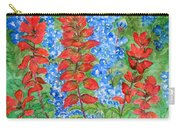 Indian Paintbrush And Bluebonnets Carry-all Pouch