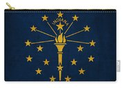 Indiana State Flag Art On Worn Canvas Carry-all Pouch