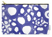 Indigo Bubbles- Contemporary Absrtract Watercolor Carry-all Pouch by Linda Woods
