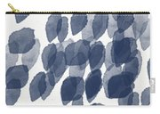 Indigo Rain- Abstract Blue And White Painting Carry-all Pouch by Linda Woods