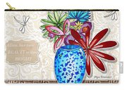 Inspirational Floral Dragonfly Painting Flower Vase With Quote By Megan Duncanson Carry-all Pouch