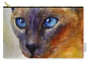 Intense Siamese Cat Painting Print 2 Carry-all Pouch by Svetlana Novikova