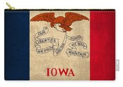 Iowa State Flag Art On Worn Canvas Carry-all Pouch
