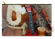 Ipu Heke And Red Ukulele With White Satin Lei Carry-all Pouch