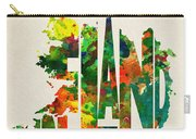 Ireland Typographic Watercolor Map Carry-all Pouch by Inspirowl Design