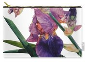 Watercolor Of A Tall Bearded Iris In A Color Rhapsody Carry-all Pouch