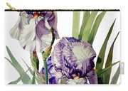 Watercolor Of A Tall Bearded Iris In Violet And White I Call Iris Selena Marie Carry-all Pouch by Greta Corens