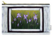 Irises And Old Boards - Weathered Wood Carry-all Pouch