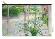 Irises And Sleeping Cat Carry-all Pouch by Timothy Easton