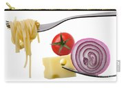 Italian Food Ingredients On Forks Against White Carry-all Pouch