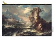 Italian Seascape With Rocks And Figures Carry-all Pouch by Marco Ricci