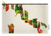 Italy Typographic Watercolor Map Carry-all Pouch by Inspirowl Design