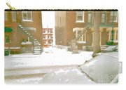 January Winter Street Winding Snow Covered Staircase Montreal Art Verdun Duplex Painting Cspandau Carry-all Pouch