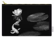 Japanese Koi Fish And Water Lily Flower Black And White Carry-all Pouch