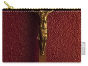 Jesus On Cross Against Red Wall Carry-all Pouch
