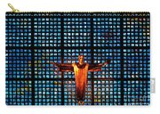 Jesus Sculpture And Blue Glass Background Carry-all Pouch