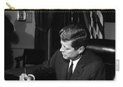 Jfk Signing The Cuba Quarantine Carry-all Pouch by War Is Hell Store
