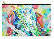 Jimi Hendrix Playing The Guitar.2 -watercolor Portrait Carry-all Pouch