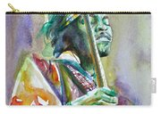 Jimi Hendrix Playing The Guitar.5 -watercolor Portrait Carry-all Pouch