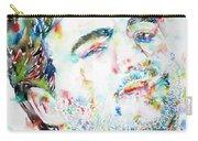 John Belushi Smoking - Watercolor Portrait Carry-all Pouch