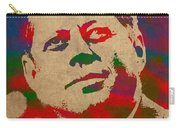 John F Kennedy Jfk Watercolor Portrait On Worn Distressed Canvas Carry-all Pouch by Design Turnpike